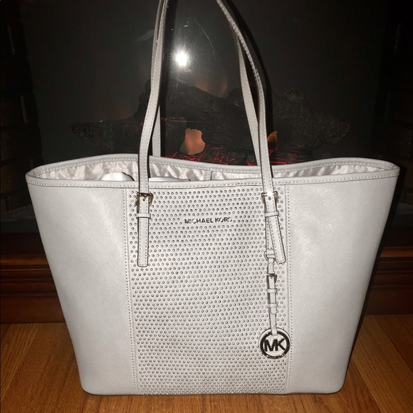 6e5702cce8c5 Michael Kors Bags | Microstud Center Stripe Travel Tote | Poshmark